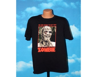 Zombie We are going to eat you Black Tshirt Vintage 1990s