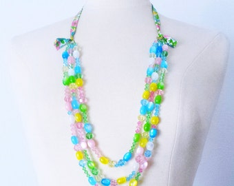 Multi strand crystal beaded necklace, Mother's Day gift, Swarovski Vintage Lucite Layering statement necklace, gift for wife, gift for Mom