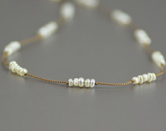 Delicate Choker Necklace Featuring Teeny Freshwater Pearl Rondelles Hand-knotted on Pure Silk Cord in Tan