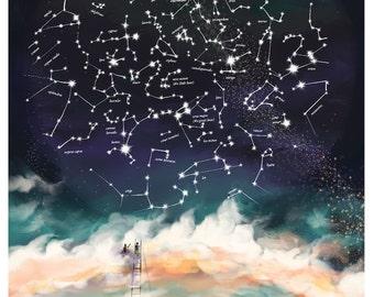 Star Constellations Map of the Northern Hemisphere - Nursery decor - Star illustration Large Wall art