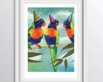 Children's Room Decor - Alphabet Art Print - P - Party Parrots - A4 fine art print