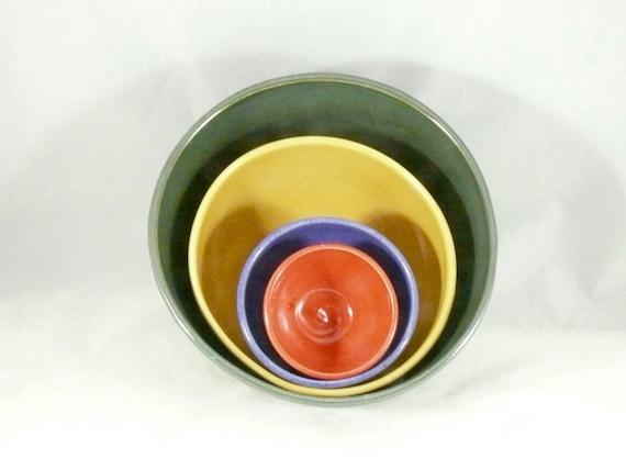 Ceramic Serving Bowl Set, Nesting Bowls , Prep Bowl, Thanksgiving decor, 9th Anniversary Wedding Gift, Stacking - decorative home decor