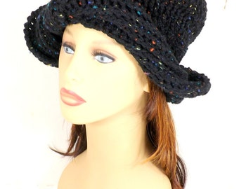 Crochet Hat, Womens Hat Trendy, Womens Crochet Hat, Crochet Womens Turban Hat, Black Tweed Hat, Samantha Womens Turban Hat Steampunk Hat