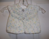 Preemie New born Baby White Short Sleeve , Doll Sweater Hand Knit, Yellow -Lavender - Blue Spashes of Color