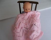 Pink Blanket - Hand Knit Blanket -  Small Lacy -  Light Pink - Doll Blanket - Pink Doll Blanket