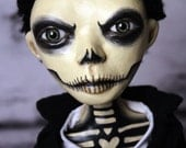 Day Of The Dead Male Doll Clay Handmade OOAK Art Doll - The Morbid Dollhouse