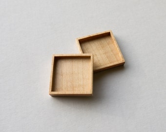 Bezel setting USA quality hardwood No laser - Maple - 1 Inch - 25.5 mm - Square - (F41-Mp) - Set of 2