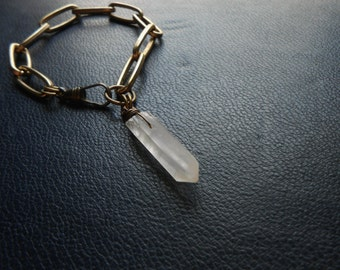 sacred secrets - crystal prism charm occult gold link chain bracelet - edgy modern festival fashion jewelry