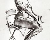 Original Figure Sketch - 12x9 Female Nude Charcoal Drawing by David Lloyd