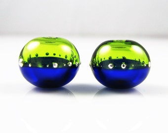 Lime and Cobalt Fine Silver Droplet Hollow Lampwork Glass Bead Pairs
