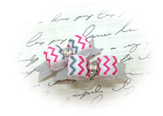 Dog Bows, Pink & Silver Chevron with Rhinestones, Puppy Dog Bow, Bows for small dogs