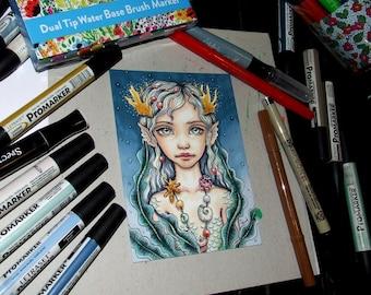 Sea Child - original pen and ink illustration by Tanya Bond