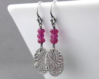 Sterling Silver Earrings Hot Pink Earrings Floral Jewelry Pink Gemstone Earrings Modern Jewelry Bohemian Jewelry Gift for Her - Tracey