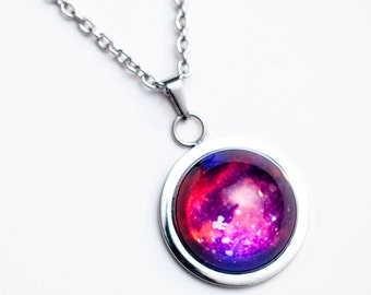 Nebula no. 11 High Dome Stainless Steel Necklace, Space Jewelry, Space Necklace, Wearable Art, Nebula Necklace, Nebula Jewelry