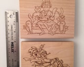 2 large wood mounted Golden Granny  Rubber Stamps, destash, as new, character stamps with cats and motorcycle, collectible.