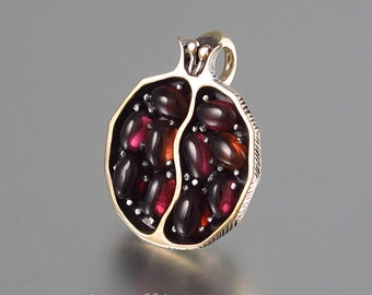 Small JUICY POMEGRANATE garnet bronze & silver pendant - Ready to ship