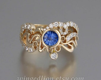 ODELIA Blue Sapphire and diamonds 14K gold engagement ring & wedding band set Art Nouveau inspired