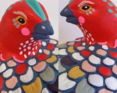 Bird with Eyebrows - orignal found object painting / sculpture