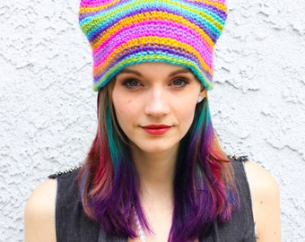 Jewel Tone Rainbow Ombre Fade Kitty Ear Beanie - Crocheted Cat Ear Hat - READY TO SHIP