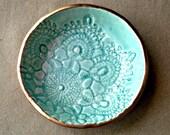 Ceramic Ring Bowl Trinket bowl Aqua Gold edged
