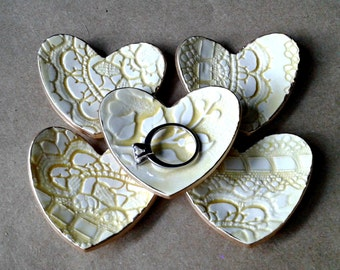Bridal Shower Baby shower favors ceramic hearts FIVE  Pale yellow Ceramic Heart ring bowls itty bittys edged in gold 2 1/2 inches