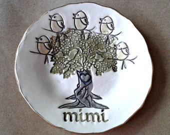 MIMI Family tree with 5 Birdies Ceramic Trinket Bowl Mothers day