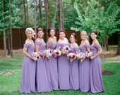 Purple Off Shoulder Straps Sweetheart Full Length Bridesmaid Dress - Custom/ Plus Size - JM021