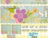 Stripes and Florals shop Banner and Avatar by Sea Dream Studio  OOAK