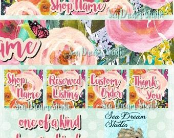 Butterfly Garden watercolor flowers Etsy shop Banner and Avatar by Sea Dream Studio  OOAK