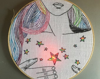 She is Made of Stars - hand drawn, painted and embroidered wall hanging / hoop art with LED light
