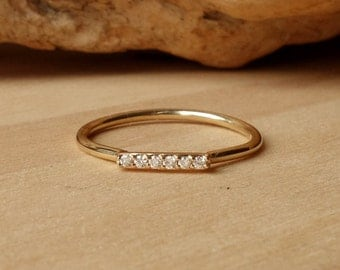 Diamond Bar Ring - Horizontal