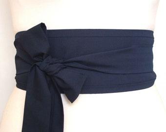 Deep Navy indigo blue cotton fabric Oriental asian eastern style Obi dress belt sash tie