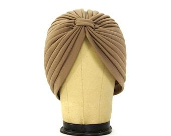70s Turban / Vintage 1970s Taupe Stretchy Turban
