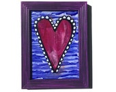 Sweet Heart Painting - Original Mixed Media Collage, love art, wall art decor, purple, blue, white, and black by Claudine Intner