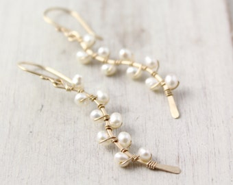 Pearl Wrapped Vine Earrings