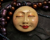 Smiling Moon Face Cabochon Handmade OOAK Polymer Clay beading focal, doll part, supply, cab