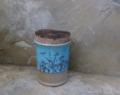RESERVED - Canister Storage Container - Handmade Stoneware Pottery Ceramic - Blue Celadon and White - Willow and Bird - 2-1/2 cups