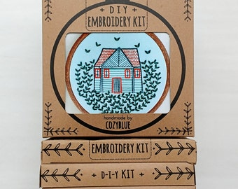 HOME GROWN embroidery kit - embroidery hoop art, cozy cabin, forest home, house and vines, cabin in the woods, cottage garden, wanderlust