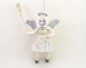 Vintage Inspired Spun Cotton Silver Angel Child Ornament