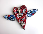 Heart With Wings. (Handmade Original Mixed Media Mosaic Assemblage by Shawn DuBois)