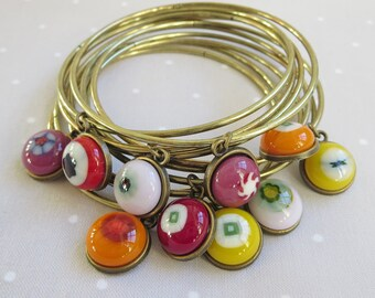 Bohemian Bangles, Boho-Chic Bangles, Fused Glass Bracelets, Set of Stacking Bangles, Stackable Bracelets