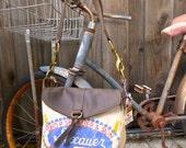 Sexauer Seeds - Brookings S Dakota - Small Leather Messenger - Americana Canvas Leather Handbag- vintage fabric... Selina Vaughan Studios