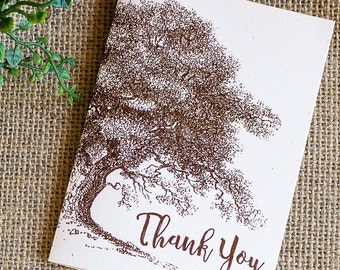 Thank You Notes set of five Oak and Acorn Rustic Autumn Wedding