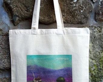 Printed Cotton Cottage and Highland Cow Bag