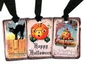 Halloween Favor Tags , Vintage Halloween , Pumpkin Tags , Black Cat , Black and Orange , Merry Halloween , Happy Halloween , Black Bat , Owl