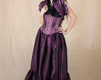 Steampunk Purple Taffeta Ruffle Skirt - Adult Halloween Costume - Fairy Costume - Renaissance Clothing - Victorian Skirt - Steampunk Costume