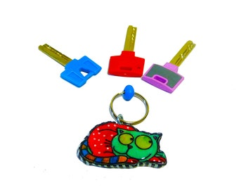 Cat keychain, art,cat lover gift key chain, keychain, key holder, unique key chain, bag decorate, polymer clay key chain,cute key chain,cat