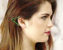 Emerald Green Elven Ear Cuffs, Elven Ear Cuffs, Ear Wraps, Antiqued Brass, Elven Jewelry, Fairy Ear Cuff, Fantasy, Cosplay, Larp, 2 cuffs