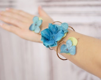 Simple Aqua Blue Wristlet, Vine Arm Cuff, Woodland Vine Bracelet, Fairy Accessory, Vine Wrist Cuff, Bridal Accessory,