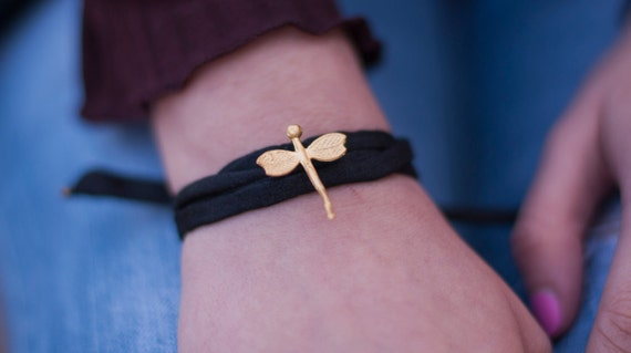 Dragonfly Bracelet. Black Silk Dragonfly Bracelet. Silk Jewelry. Dainty Dragonfly Jewelry. Delicate Dragonfly Bracelet. Gold plated
